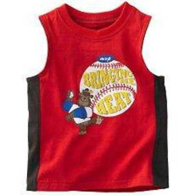 NWT-Boys Carters Red Bringing The Heat Baseball Tank Top Shirt- sz 12 mths