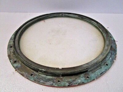 VINTAGE ship's BRASS PORT HOLE / Window / Porthole - 12 INCHES GLASS (478)