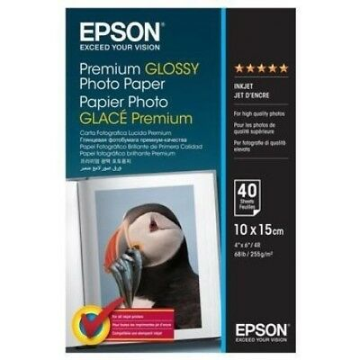 "40 sheets Epson premium glossy photo paper 10 x 15cm 4 x 6"" 100 x 150mm"