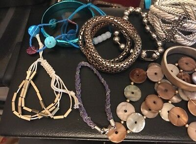 Massive Vintage Job Lot Of Costume Jewellery Bracelets Lucite Glass X14
