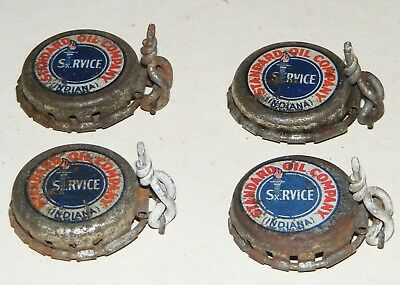 ANTIQUE STANDARD OIL CAN - BOTTLE CAP LOT 4 RARE INDIANA SERVICE Early 1900s-
