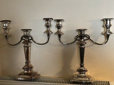 Vintage Pair Of Silver Plate On Copper Three Branch Candelabra/ Candlesticks