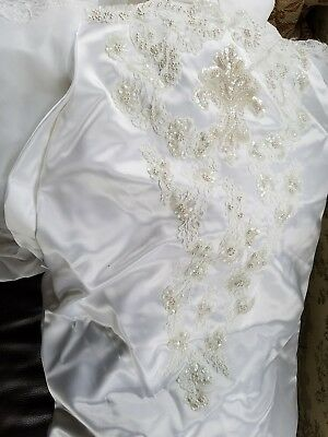 Stunning White Vintage 1980's Wedding Gown & Long Vale Cleaned Size 10