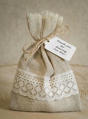 Rustic Hessian Lace Vintage Wedding Favour Bags Personalised Shabby Chic 1 100