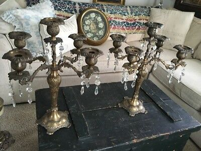 Stunning Matching Pair Of Brass Crystal Candelabra Set Very Heavy