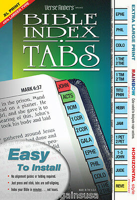 Extra Large Bible Book Index Tabs Rainbow LONG LASTING Full Set EZ Install - NEW