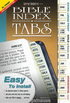 Extra Large Print GOLD Bible Book Labels Index Tabs - LONG LASTING EZ to Install