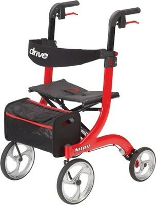 4 Wheel Rollator Nitro Red Adjustable Height Aluminum RTL10266 Each/1