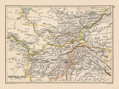 International Map - Central Asia - Bartholomew 1892 - 30.51 x 23