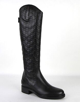 2bf4a1b015f Gucci Women s Black Guccissima Leather Riding Boots with Zipper 296161 1000