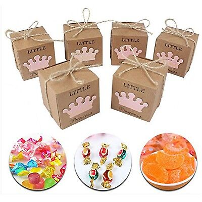 50pc Kraft Paper Candy Boxes Wedding Gift Favor Packaging Bag Baby Shower Supply