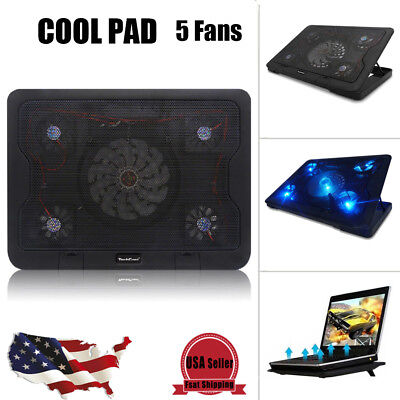 5 Fans USB Cooler Cooling Pad Stand LED Light Radiator for Laptop PC Notebook