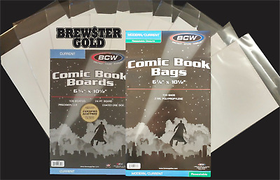 RESEALABLE - 10 PREMADE BCW Current / Modern Comic Book Bags Boards / Sleeves