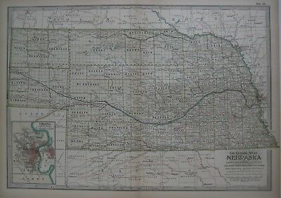 Original 1897 Map NEBRASKA Omaha Lincoln Scotts Bluff Tecumseh Fremont Ogallala