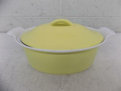 "Vintage Le Creuset France 22 Yellow Enameled Oval Dutch Oven 3.5x7x9"" GREAT LOOK"