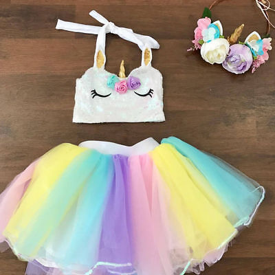 Baby Girls Unicorn Rainbow Tutu Skirt 1st Birthday Cake Smash Party Tulle Dress