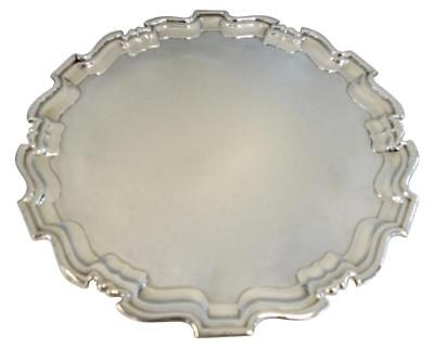 "LARGE ROUND FOOTED ENGLISH STERLING SILVER TRAY / SALVER. 16.75"" Diameter"
