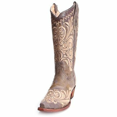 Circle G Womens Distressed Embroidered Scroll Cowboy Boots L5407