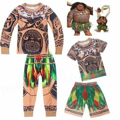 Moana Maui Baby Boys T-shirt + Pants Costume Cosplay Halloween Outfits Pyjamas
