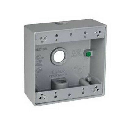 "Taymac DB350S 3-Holes 1/2"" Metal 2-Gang Outlet Box Weatherproof 24591"