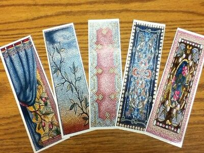 Set of 5 Laminated Bookmarks with Stained Glass Designs - Set D