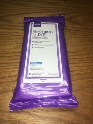 (AQ) Medline ReadyBath LUXE Unscented Body Cleansing Cloths, Extra Thick Wipes