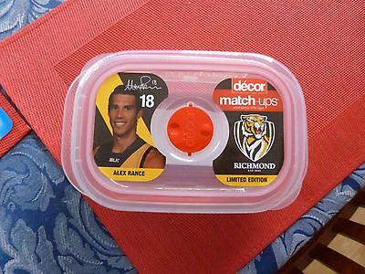 Richmond Tigers Afl Decor 650Ml Alex Rance Match Ups Food Container-Brand New