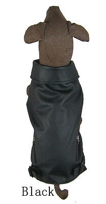 Dog jacket, tank style made of soft faux leather black vest for large dogs