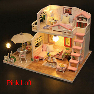 Girl's Dollhouse Wood Toy Doll House Cottage Miniature DIY Kit w/ LED Lights VST