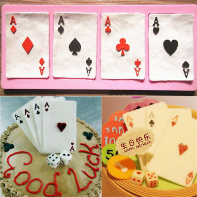 3D Poker Shape Silicone Cake Mold Chocolate Pastry Baking Mould Decorating DIY