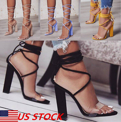 458a7f14dc3 Women Lace Up Block Heel Strappy Sandals Ankle Strap High Heels Pump Sandals  USA