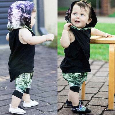 5ef446f59aa5 COTTON CUTE KIDS Baby Boy Vest Tops+Pants Shorts 2PCs Outfits Hooded ...
