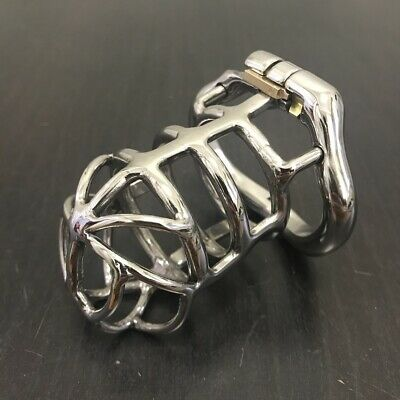 Men Long Chastity Cage Male Hollowed Stainless Steel Big Locking Belt Device 152