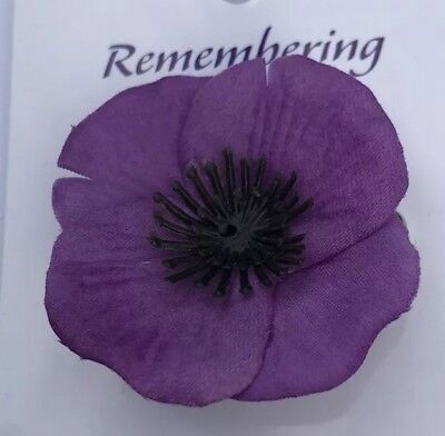 Remembrance Day*Material Purple Poppy Safety Pin* Remembering Our Animals 45mm