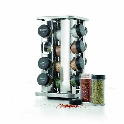 New Baccarat Enhance Stainless Steel 16 Jar Spice Rack Carousel with Seasonings