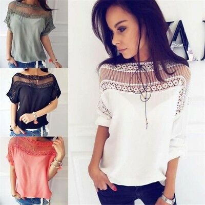 Fashion Womens Lace Hollow Sleeve Tops Blouse Casual T-Shirt Pullover 4 Colors