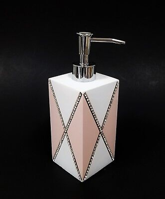 New Mike+Ally White+Pink Resin,'x' Cross Design Crystals,bathroom Soap Dispenser