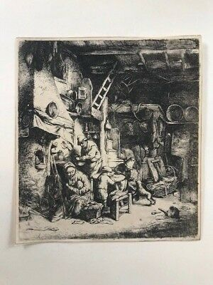 Interno di un cottage contadino; Adriaen van Ostade Acquaforte 1647. Etching