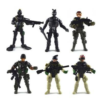 6pcs Cool Playset Plastic Toy Soldiers Army Men 10cm Figures Accessories Toy