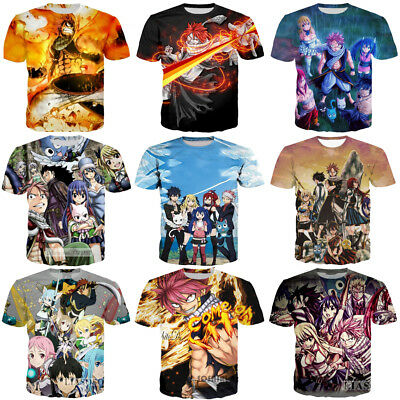 New Women Men Fairy Tail Anime Print Casual 3D T-Shirt Short Sleeve Tee Tops