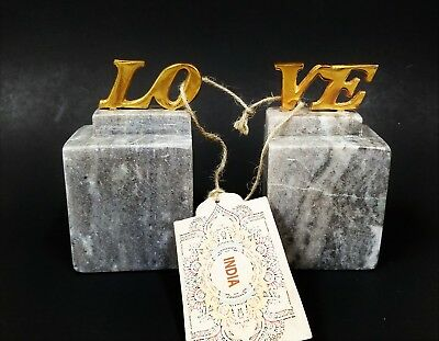 "Hand Carved 2 Pc Gray Marble Stone Figurine,bookend-Brass Gold ""love"",from India"