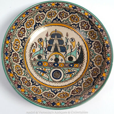 """FES Pottery Bowl 12.5"""" Wall Plaque (like SAFI) Moroccan Hand Painted Vintage Fez"""