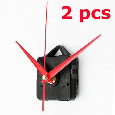 2Pcs DIY Wall Quartz Clock Red Hand Black Case Movement Mechanism Repair Parts