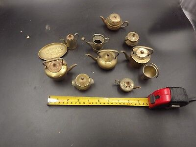 Antique Mixed Bundle Of Vintage Brass Kettles Bucket Watering Can Dolls House?