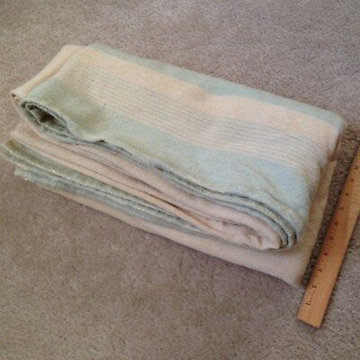 Vtg 71x83 Rustic 100% Wool Blanket Cream & Green Stripes Farmhouse Primitive UK