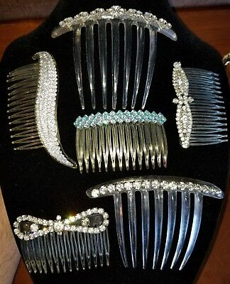 Vintage Lot of 6 Rhinestone Hair Combs - Mid Century - Clear, Blue - Lovely!