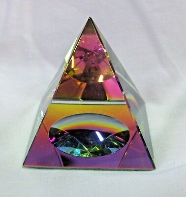 Amlong Crystal  Pyramid Paperweight Rainbow Colors Collectible New in Gift Box