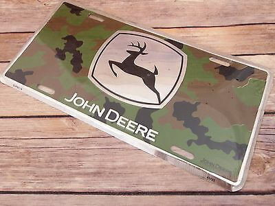 NEW John Deere Sign Advertising - Camo Deer Hunter License Plate