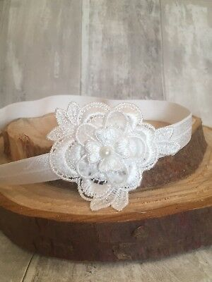 Baby Girl Off White Christening Headband Baptism Wedding Pearl Flower Hairband