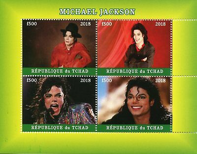 Chad 2018 CTO Michael Jackson 4v M/S Pop Stars Popstars Music Celebrities Stamps